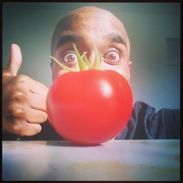Home-grown tomato selfie!  Hogrotfie! #selfiegram #allthefilters