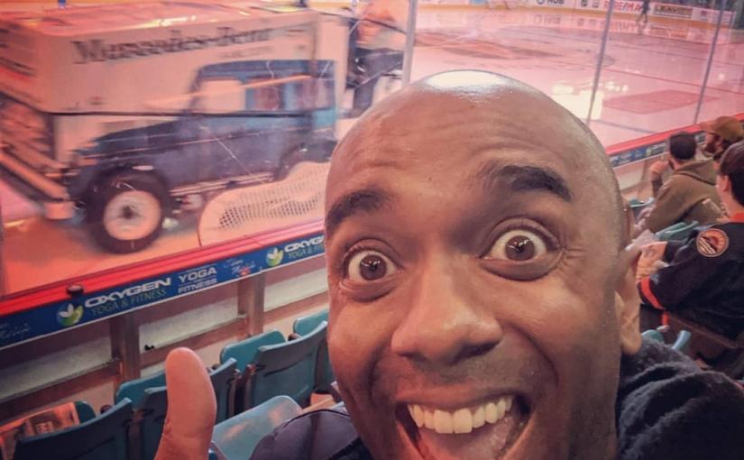 Zamboni selfie!  Zambelfie! #selfiegram #firstblazersgame #still0-0 #thanksbecky